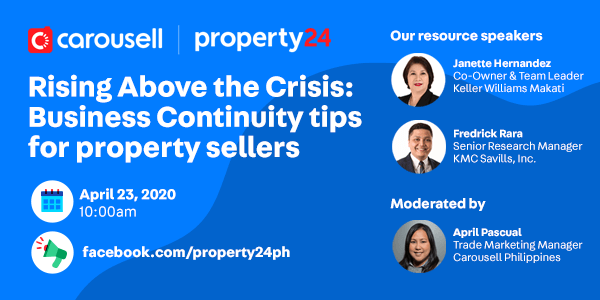 Rising above the crisis - Business continuity tips for property sellers - Carousell and Property24 Upcoming Event - Carousell College